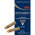 STINGER HYPERVELOCITY AMMO 22 LONG RIFLE 32GR COPPER PLATED HP