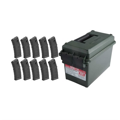 Brownells Ar-15/M16 30rd 223/5.56 Pmag M3 Magazine Ten Pack With Ammo Can
