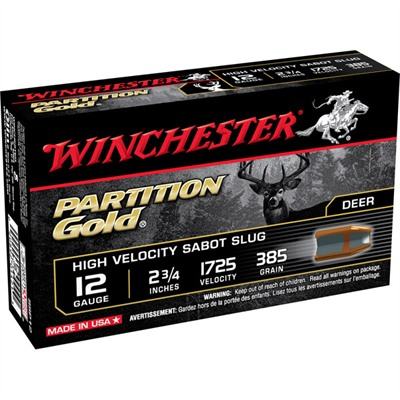 Partition Gold Shotgun Ammunition - Winchester Partition Gold 12ga 2-3/4   385gr Sabot Slug