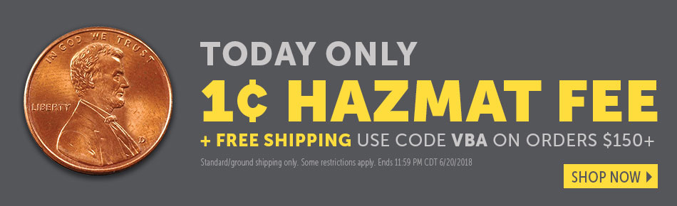 Today Only! 1 Cent Haz Mat fee & Free Shipping