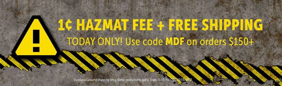 1 Cent Haz Fee and Free Shipping Today Only