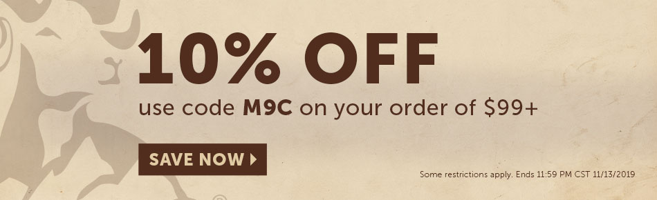 10% off orders over $99. Use Code M9C