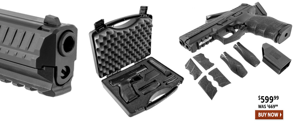 Highlighting the HK VP9, close up of muzzle, gun in plastic gun case and gun laying on table with 6 grips and magazine loader.