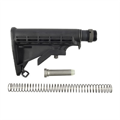 Collapsible buttstock similar to the current US GI M4 carbine stock provides convenient six-position length-of-pull adjustment to fit different-size shooters, including those ...