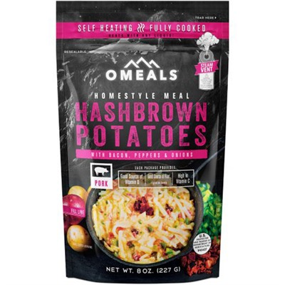 Hasbrown Potatoes With Bacon, Peppers & Onions Homestyle Meal Omeals Premium Outdoor Foods.