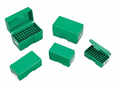 These tough, plastic boxes have flush exteriors with recessed latches. They're designed to stack easily, and feature an anti-rattle bullet-tip nest, empty ...