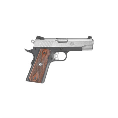 Sr1911 4.25in 45 Acp Ss Thin Hardwood Panels w/ Logo Fixed 7+1rd by Ruger