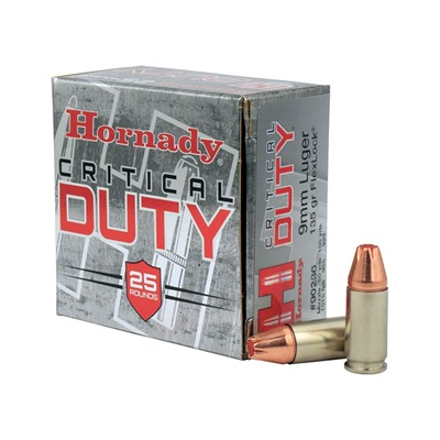 Critical Duty Ammo 9mm Luger 135gr Flexlock Hornady.