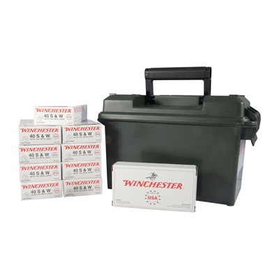 Usa White Box Ammo 40 S & w/ 165gr FMJ Ammo Can by Winchester
