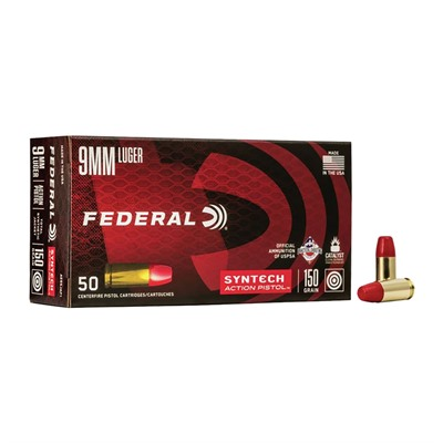 Syntech 9mm Luger 150gr Total Synthetic Jacket Action Pistol Ammo American Eagle.