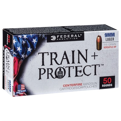 Train + Protect Ammo 9mm 115gr Versatile Hollow Point Federal.