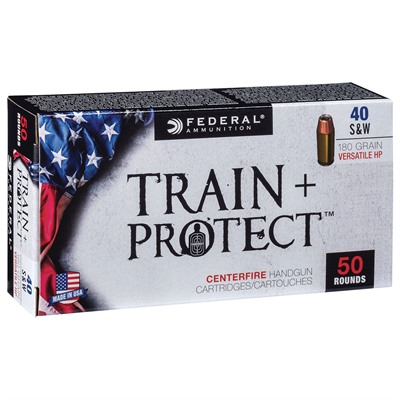 Train + Protect Ammo 40 S&w 180gr Versatile Hollow Point Federal.