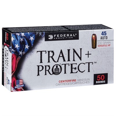 Train + Protect Ammo 45 Auto 230gr Versatile Hollow Point Federal.