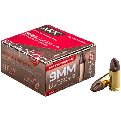 Preferred Defense Ammo 9mm Luger +p 65gr Frangible Inceptor.