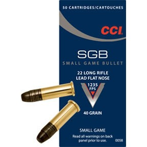 Small Game Bullet Ammo 22 Long Rifle 40gr Lead Flat Nose by Cci