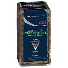 Click here to buy Tnt Green Ammo 22 Magnum (Wmr) 30gr Hollow Point by Cci.
