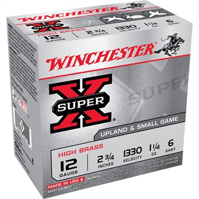 "Super-X High Brass Ammo 12 Gauge 2-3/4"" 1-1/4 Oz 6 Shot Winchester."