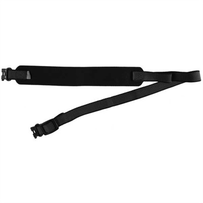 "Simple, inexpensive, lightweight carry sling of close-weave nylon webbing has a ""razor""-thin, elasticized shoulder pad that absorbs shock as you walk, so you ..."