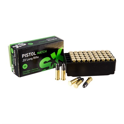 Pistol Match Ammo 22 Long Rifle 40gr Lead Round Nose Sk.