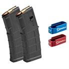 AR-15 PMAG GEN M3 WITH RED AND BLUE MAGAZINE EXTENSIONS