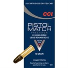 PISTOL MATCH AMMO 22 LONG RIFLE 40GR LEAD ROUND NOSE