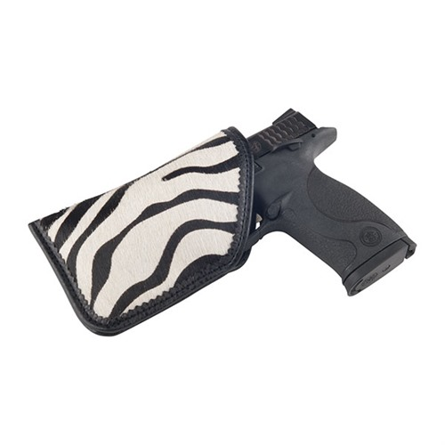 Moonstruck Leather Black & White Zebra Diva Sleeve Holster, Large