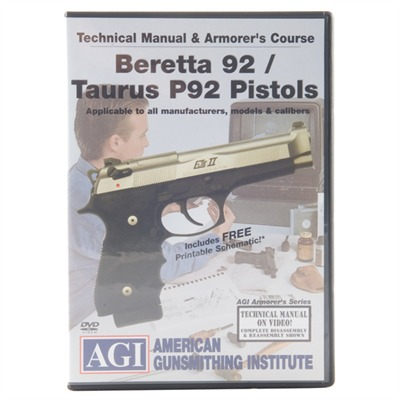 Agi Beretta 92 & Taurus 92 Technical Manual & Armorer's Course Dvd - Beretta 92/Taurus 92 Technical Manual & Armorer's Course Dvd