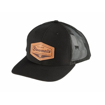 Brownells Black Cap W/ Leather Hexagonal Patch