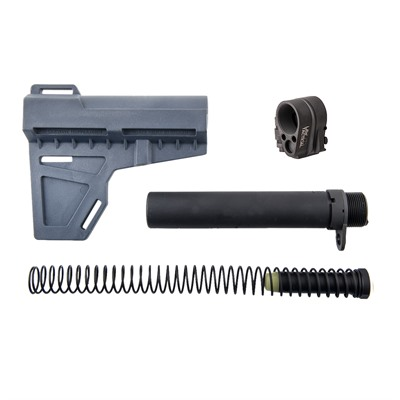 Brownells Kak Shockwave Pistol Brace & Law Tactical Folding Stock Adapter - Shockwave Grey With Law Tactical Folding Stock Adapter