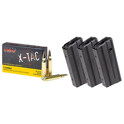 BROWNELLS  200RDS X-TAC 5.56 55GR FMJ WITH 3X 25RD RETRO MAGS
