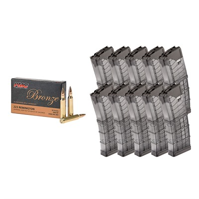 Brownells 1,000rds Bronze .223 Rem 55gr Fmj With 10x Lancer Mags