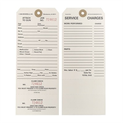 Brownells Double Stub Claim Checks - 100 Double-Stub Claim Checks