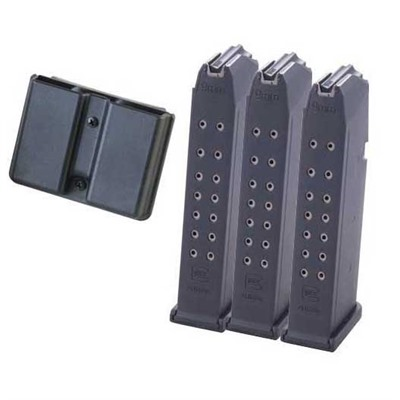 Glock Model 17/34 Magazines - 17/34 9mm 17-Rd Mag 3-Pack W/Double Mag Pouch