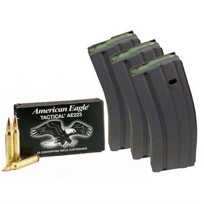 American Eagle Ammo 5.56x45mm Nato 55gr Xm193 With Brownells Mags - 3 Ar-15/M16 Mags W/200 Rounds Ae