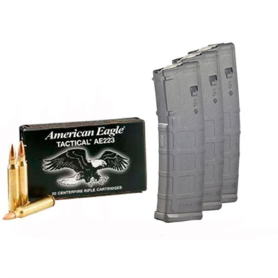 American Eagle Ammo 5.56x45mm Nato 55gr Xm193 With Pmags - 5.56x45mm Nato 55gr Fmj 200 Rounds & 3 30