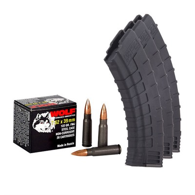 Ak47 Tapco Magazines & Ammo Packs - 200 Rounds 123gr 7.62x39 Wolf Ammo & 3 30-Rd Tapco Blk Mag