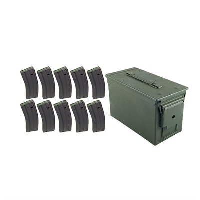 Brownells Ar-15/M16 30rd 223/5.56 Cs Usgi Magazine Ten Pack With Ammo Can