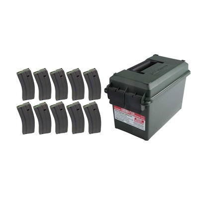 Brownells Ar-15/M16 30rd 223/5.56 Ss Usgi Magazine Ten Pack With Ammo Can