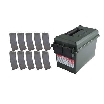 Buy Brownells Ar-15/M16 30rd 223/5.56 Pmag Moe M2 Magazine Ten Pack W/ Ammo Can
