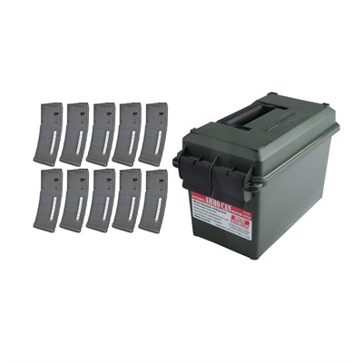 Buy Brownells Ar-15 30rd X10 Pmag Gen M2 Moe Window + Ammo Can 223/5.56
