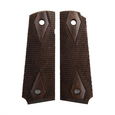 Herretts 1911 Replica Walnut Grips - 1911 Dark Stain Double Diamond Replica Grips
