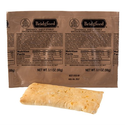 Bridgford Bacon In Cheese Flavored Bread Shelf Stable Sandwich