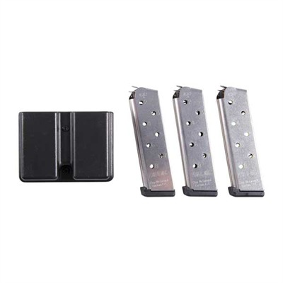 Chip Mccormick Custom 1911 45acp Power Magazine 3 Packs - 1911 8-Round Ss Power Magazine, 3 Pack W/ Double Mag Pouch