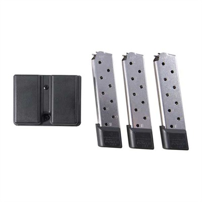 Chip Mccormick Custom 1911 45acp Power Magazine 3 Packs - 1911 10-Round Ss Power Plus Magazine, 3 Pack W/Dbl Mag Pouch