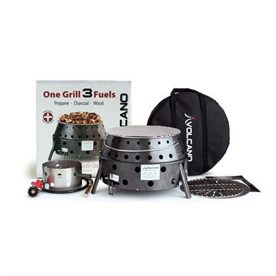 Collapsible Grill W/ Propane - 3-Fuel Portable Camping Stove