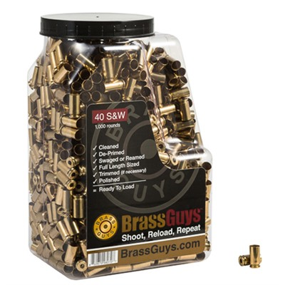 Once-Fired Processed Pistol Brass - Processed Once-Fired Brass .40 S&W 1,000/Jug
