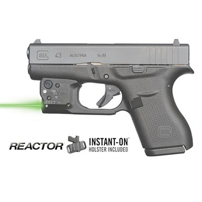 Reactor 5 Green Weapon Lasers - Glock® 43 Reactor 5 Green Laser With Hybrid Holster