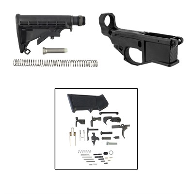 Ar-15 80% Lower Build Kit W/Buttstock Black - Ar-15 80% Lower Build Kit W/ Buttstock Black