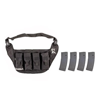 Brownells Deluxe Magazine Pouch W/ 4-Pk 30-Rd Pmags