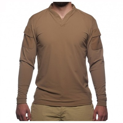 Velocity Systems Boss Rugby Shirt Long Sleeves - Boss Rugby Shirt Long Sleeve Coyote Brown Sm